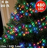 Cluster Lights 480 Multi Colour Outdoor Christmas Tree Lights LED Fairy Lights ( 6m / 20ft Lit Length ) Multi-action Mains Operated Green Cable - Indoor & Outdoor
