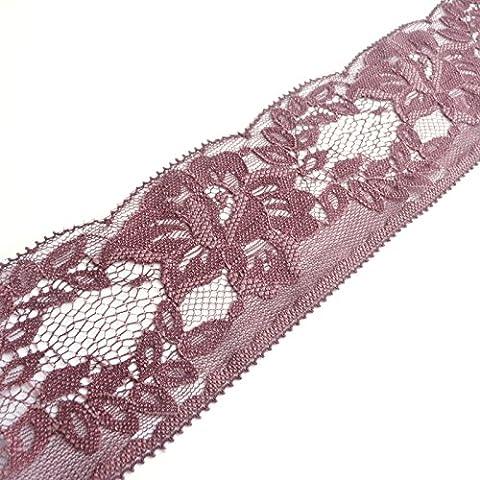 Bordure en Dentelle Plate rigide marron 65mm 6,3cm Large–Vendu Au Mètre