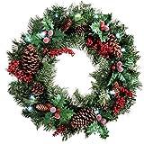 WeRChristmas - Corona de Navidad con iluminación (60 cm, piñas Naturales y Bayas, 20 Bombillas LED, luz Blanca fría)