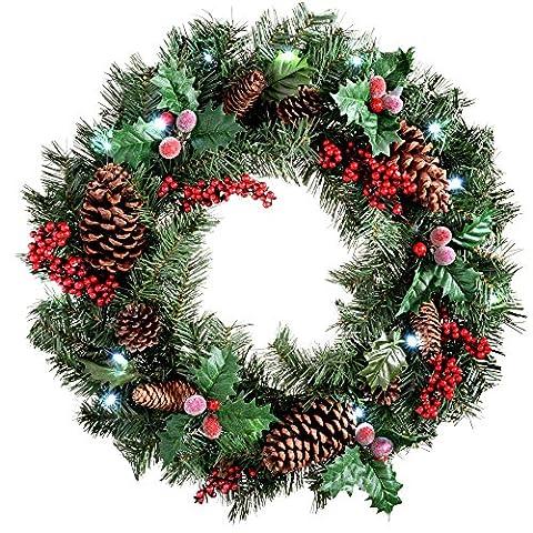 WeRChristmas 60 cm couleur naturelle de pin et baies Couronne avec décoration de Noël illuminé avec 20 LED Blanc froid