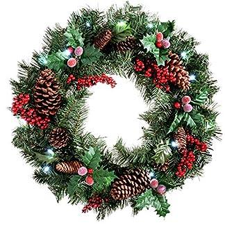 WeRChristmas – Corona de Navidad con iluminación (60 cm, piñas Naturales y Bayas, 20 Bombillas LED, luz Blanca fría)