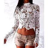 Lia Fashion Bluse, Dirndlbluse, Kann auch ohne Dirndl getragen werden, weiß, Spitze, Gr. M/L, 36/38, lange Ärmel, super modern, tolles Geschenk, kurze Bluse, extravagant, Tracht, Trachtenbluse