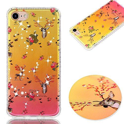 Ooboom® iPhone 6S/6 Hülle TPU Silikon Handy Tasche Funkeln Bling Diamant Stoßdämpfung Case Cover Bumper Drop Resistance für iPhone 6S/6 - Blumen Hirsch