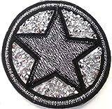 b2see Strass Glitzer Sterne Aufnäher Aufbügler Bügelbilder Set Iron on Patches Applikation mit Pailletten Glitzer für Textilien Kleider Frauen zum aufbügeln Strass Stern 7 cm