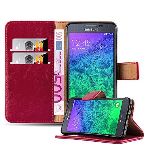 Cadorabo Hülle für Samsung Galaxy Alpha - Hülle in Wein ROT – Handyhülle im Luxury Design mit Kartenfach und Standfunktion - Case Cover Schutzhülle Etui Tasche Book