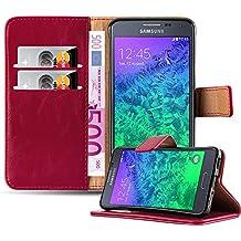 Cadorabo - Funda Estilo Book Lujo para Samsung Galaxy ALPHA (G850) con Tarjetero y Función de Suporte - Etui Case Cover Carcasa Caja Protección en ROJO-BURDEOS