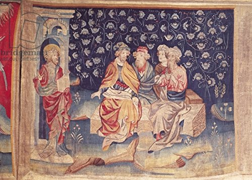 """Poster-Bild 70 x 50 cm: """"Discussion of the Resurrection, no.76 from The Apocalypse of Angers, 1373-87 (tapestry)"""", Bild auf Poster"""