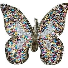 Gran parche termoadhesivo mariposa de lentejuelas para cazadoras, sudaderas, camisetas, bolsos, scrapbooking decoracion 18 cm. NOVEDAD de OPEN BUY