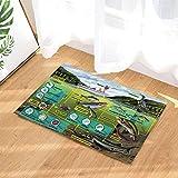 Eau Zoologie Tapis de bain Vie aquatique Cycle alimentaire Oiseau Pêche humaine Tapis antidérapant Tapis d'entrée au sol Tapis de porte avant d'enfant Tapis de bain pour enfants 60X40CM Accessoires de salle de bains