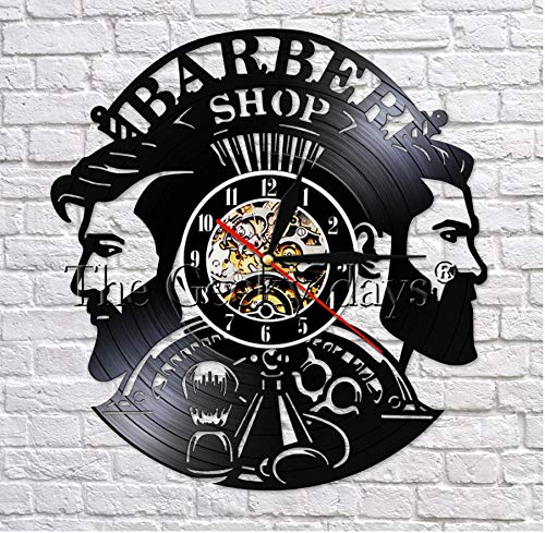HHYXIN Schallplatte Wanduhr Barber Shop 3D Decorative Wall Art Clocks Vintage Vinyl Record Clock Wall Decor Man Fashion for Barber Salon Clocks