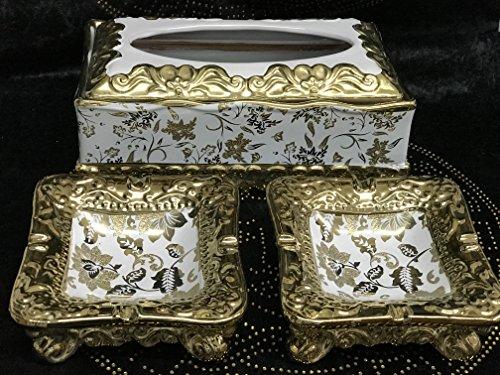 3piezas toalla dispensador y 2unidades de cenicero muy inoxidable decorativo de cerámica y cuencos decorativos Depósito Top Oferta/oro/plata/SO larga de Existencias)
