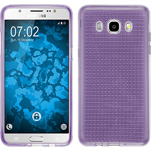 PhoneNatic Case für Samsung Galaxy J5 (2016) J510 Hülle Silikon gold Iced Cover Galaxy J5 (2016) J510 Tasche + 2 Schutzfolien Lila