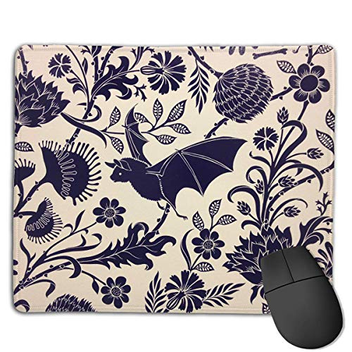 Rub-art-kit (Mouse Pad Bat with Flower Art Rectangle Rubber Mousepad 8.66 X 7.09 Inch Gaming Mouse Pad with Black Lock Edge)