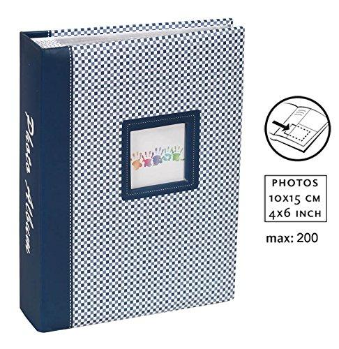 Elements Fotoalbum für 200 Fotos in 10x15 cm Einsteck Foto Album mit Ausschnitt: Farbe: Blau