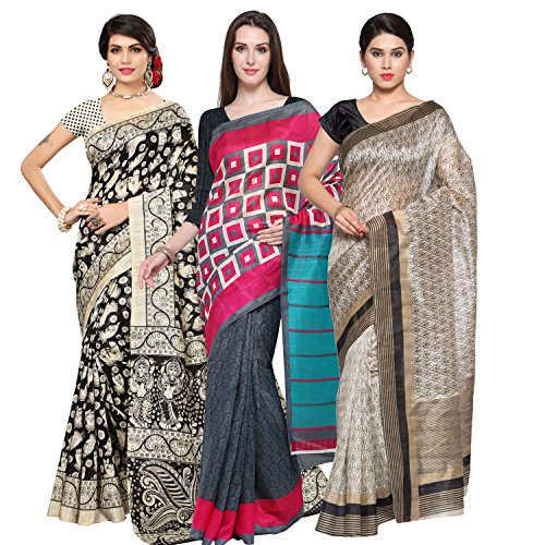 Oomph! Women's Raw Silk Printed Sarees Combo - Multi_combo3_greykeri1479