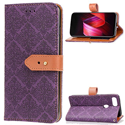 Oppo R15 (Standard) Card Holder Case, Oppo R15 (Standard) Wallet Case Slim, Oppo R15 (Standard) Folio Leather case Cover Shockproof Case with Credit Card Slot, Durable Protective Case