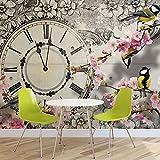 Vögel Blumen Uhr Vintage - Forwall - Fototapete - Tapete - Fotomural - Mural Wandbild - (1793WM) - XXXL - 416cm x 254cm - VLIES (EasyInstall) - 4 Pieces