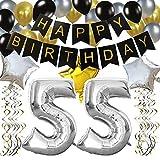 KUNGYO Classy 55. Geburtstag Party Dekorationen Satz- Schwarz Happy Birthday Banner ,Silber 55 Mylar Folienballon, Star & Latex Ballon,Hängende Wirbel,Perfekt Alles Gute Zum Geburtstag Zubehör Für 55 Jahre Alt.