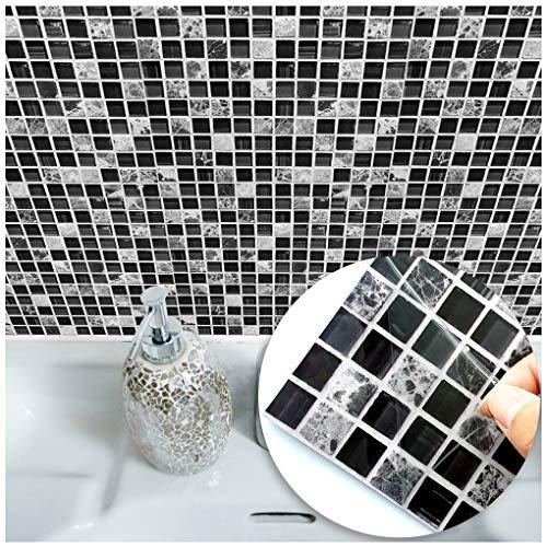 VANCORE Mosaik Fliesen Sticker Schwarz und Weiß–Bedruckt in 2D Küche/Sticker Fliesenaufkleber Bad Fliesen Transfers, Quadratisch 20x 20cm (10Stück), PVC, Schwarz/weiß, 20 * 20cm-10Pieces