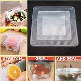 Henweit silicona Stretch tapas alimentos Wraps reutilizable Alimentos Frescos mantener Cling Film transparente Pack de 4para cubrir alimentos bandejas platos para servir ensalada cuencos macetas