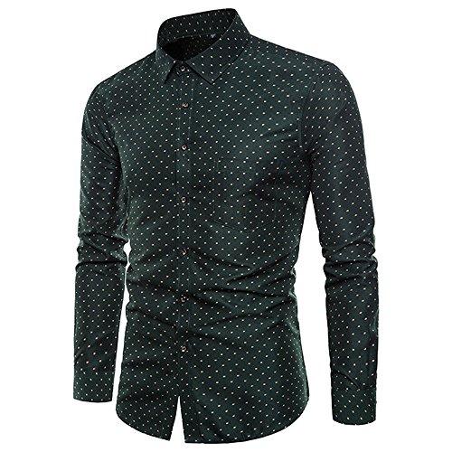 IMJONO Mens Shirt Mens Long Sleeve Oxford Formal Casual Suits Slim Fit Tee Dress Shirts Blouse Top (XX-Large,Grün) -