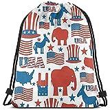 BOUIA Backpack Elephant Hat Of America Flag Kordelzug Taschen Mehrzweck-String Rucksack Langlebig...