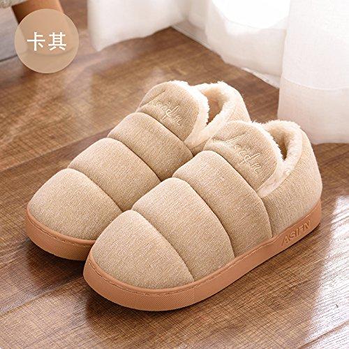 DogHaccd pantofole,Paio di pantofole di cotone alta femmina-pacchetto con elegante anti-slittamento interno e al di fuori della casa del anti-slittamento di spessore caldo cotone pantofole per uomini Brown2