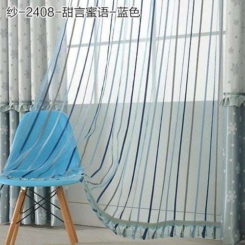 SQDJJCL-riscaldamento Tende oscuranti/tende Camera da letto soggiorno baia finestra tenda tessuto tende di pizzo,filo-blu