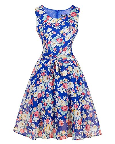 9f580288009 Femmes Swing Robe de Soirée Bal Cocktail Imprimée Rockabilly Robes Saphir  Bleu