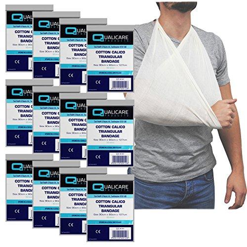 Qualicare Armschlinge, Baumwolle-Calico, dreieckig, bei Verletzungen, Unterstützung für Arm/Schulter-12er-Pack