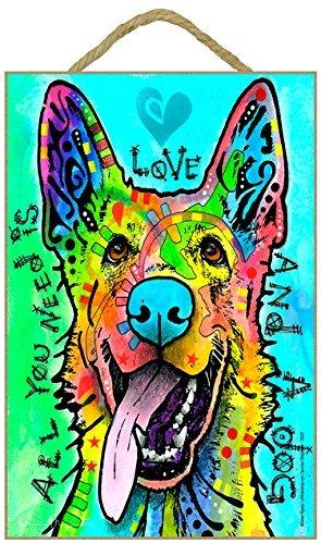Deutscher Schäferhund–All you Need Is Love and a Dog 7x 10.5Holz Plakette/Schild mit Das Artwork von Dean - Russo Dean Artwork