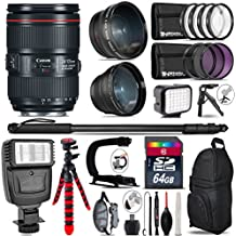 Canon 24-105mm Is II USM Lens 1380C002 + Flash + 0.43X Wide Angle Lens + 2.2X Telephoto Lens + LED Kit + Video Stabilizing Handle + UV-CPL-FLD Filters + Macro Filter Kit - International Version