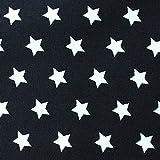 MOORE DENIM Baumwollstoff schwarz mit weißen Sternen 8 mm, 134 cm lang