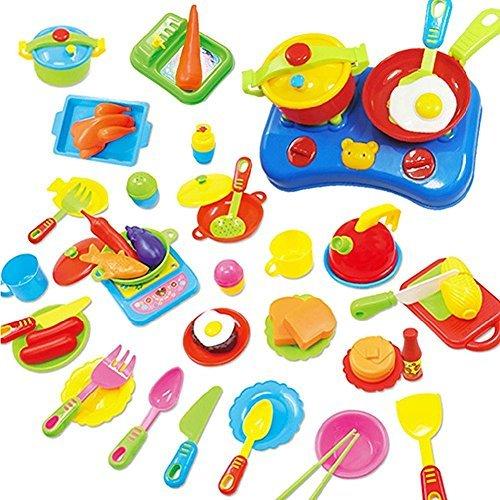 Pretend Küche Spielzeug Ware Set Plastik Kochen Geschirr Essen Kinder Geschenk 60 Pcs