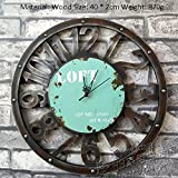 Flashing- Retro Industrial Winds Loft Wanduhr Taschenuhr Home Bar Restaurant Shop Gear Uhren und Uhren ( Farbe : Blau )
