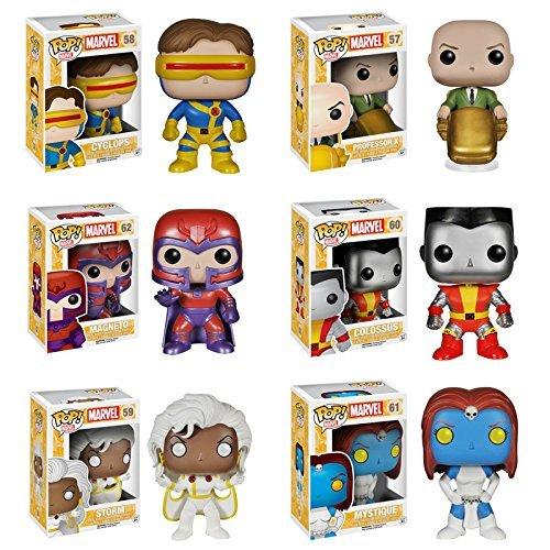 Pop! Marvel: X-Men: Colossus, Cyclops, Professor X, Storm, Mystique & Magneto - Set of 6 Vinyl Figures by FunKo
