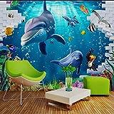 Weaeo Custom 3D Wandbild Geheimnisvolle Blaue Unterwasserwelt Tv Hintergrundbild Ozean Wandbild Kinder Tapeten Cartoon-350 X 250 Cm.