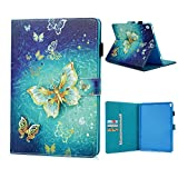 iPad Pro 10.5 Case, 2017 Release Colorful Painted Luxury Premium Soft PU Leather Wallet Cover Case Viewing Stand Flip Case for iPad Pro 10.5 (2017) Strong Magnetic Closure Full-Protection Grip Shell with Auto Wake & Sleep Function - Gold Butterfly