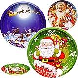 Unbekannt 3 Stück _ große Teller / Plätzchenteller - Weihnachtsmotive - Ø 26,5 cm - rund - Mehrweg - Blech / Metall - Weihnachtsteller / Keksteller - Weihnachten - Plät..