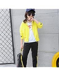 ZYTAN ropa casual, amarillo puro, dos piezas Chaqueta y Pantalón,Amarillo,110cm.