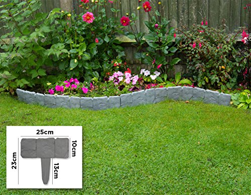 Woodside – Rasenkanten-Steckelemente für den Garten – 10 Stück