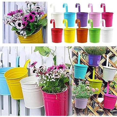 margueras 10pcs Tarros de flores con mango desmontable maceta Planta suspendida 10colores Pots flor Metal hierro balcón jardín casa decoración