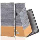 Cadorabo Hülle für Nokia Lumia 925 - Hülle in HELL GRAU BRAUN – Handyhülle mit Standfunktion und Kartenfach im Stoff Design - Case Cover Schutzhülle Etui Tasche Book