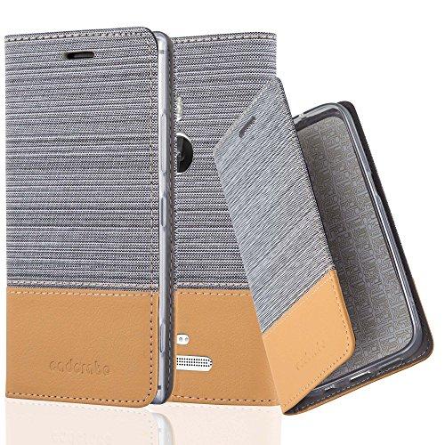 Cadorabo Hülle für Nokia Lumia 925 - Hülle in HELL GRAU BRAUN - Handyhülle mit Standfunktion und Kartenfach im Stoff Design - Case Cover Schutzhülle Etui Tasche Book