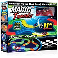 Kacsoo Magic Race Bend Flex and Glow Tracks-220 Pieces,Plastic Magic 11 Feet Long Flexible Tracks Car Play Set for Kids…
