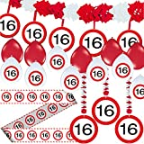 Carpeta 23-tlg. Partyset * 16. Geburtstag * mit Verkehrschild Deko: Girlande + Rotorspiralen + Absperrband und Vielen Luftballons Dekoset Dekobox Verkehrsschild
