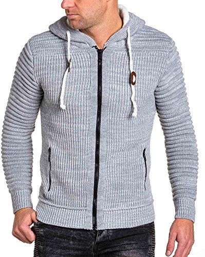 BLZ jeans - Gilet zippé homme gris maille épaisse Gris