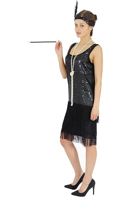 Guanti 1920s Gatsby Costume Adulto Vestito Donna Lunga Flapper Costume Rosso