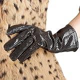 Nappaglo Damen Lamm Leder Serpentine Handschuhe Lining Winter lange Leder Handschuhe (nicht-Touchscreen)