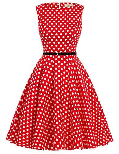 50s dress rockabilly kleid sommerkleid damen knielang partykleid cocktailkleider knielang Größe S...